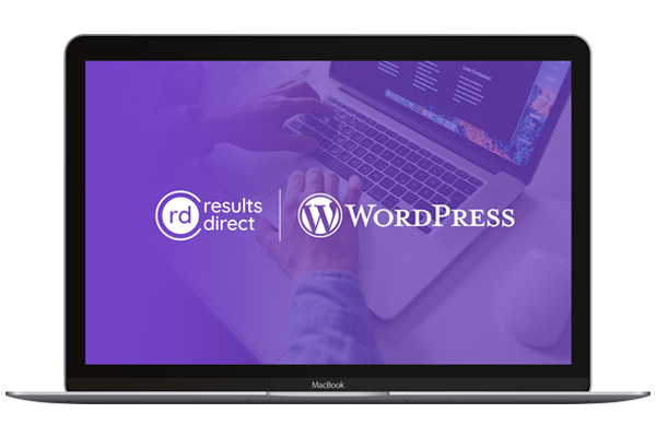 Results Direct logo and WordPress logo over laptop image
